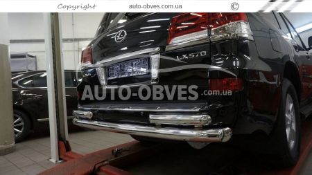 Rear bumper protection Lexus LX570, straight pipe with additional angles photo 1