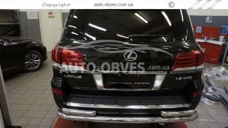Rear bumper protection Lexus LX570, straight pipe with additional angles photo 2