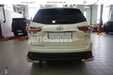 Rear bumper protection Toyota Highlander 2014-2017, double angles photo 3