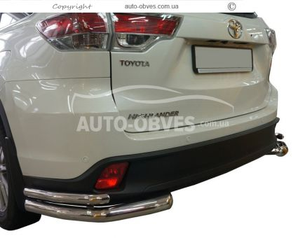 Rear bumper protection Toyota Highlander 2014-2017, double angles photo 0